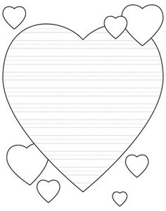 Heart-shaped writing paper for Valentines day - primary lines - FREE! Heart Template, Crown Template, Flower Template, Lined Paper For Kids, Cute Writing, Lined Writing Paper, Handwriting Activities, Owl Templates, Applique Templates