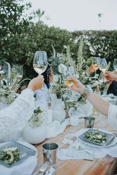 Green and white outdoor dinner party