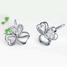 Find More Stud Earrings Information about S925 38 Fashion 925 Sterling Silver Three Leafs Clover Stud Earrings Accessories for Women Brincos Pendientes de plata,High Quality Stud Earrings from MM Vogue Jewelry Shop. on Aliexpress.com