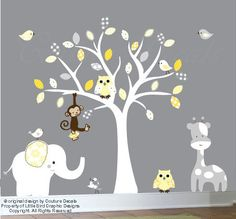 This patterned yellows and grey wall decal will create a perfect nursery room. This colorful listing comes with 1 tree, 2 owls, 1 monkey, 1