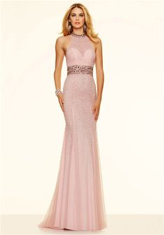 0ebbbe5800 Luxury Mermaid Backless Long Blush Pink Tulle Beaded Pearl Evening Prom  Dress
