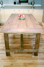 The Turquoise Home: DIY Farmhouse Table.. I saw this in a home! It was stained dark and it was beautiful!