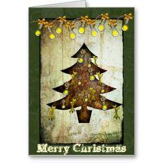 Steampunk Christmas Tree Holiday Card