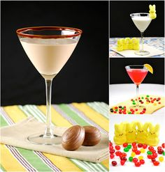 Easter Candy Cocktails - Sparkling Jelly Bean-infused Vodka Martini, Marshmallow Peep Martini, Caramel Cadbury Egg Martini