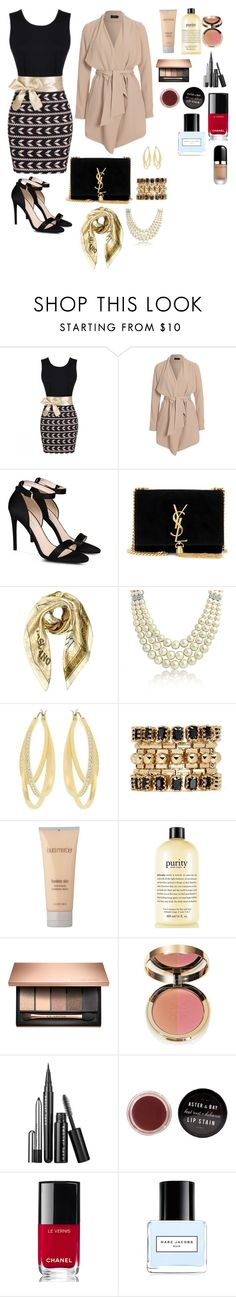 """Proper Black and Gold"" by teresalcaine ❤ liked on Polyvore featuring ONLY, STELLA McCARTNEY, Yves Saint Laurent, Moschino, Bling Jewelry, Swarovski, Eddie Borgo, Laura Mercier, philosophy and Ciaté"