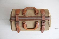 1940s military bag / WWII bag / canvas luggage by allencompany