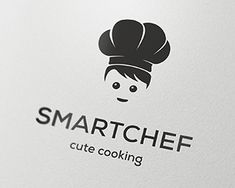 Smart Chef Logo design - A cute representation of a chef wearing a chef's hat. This logo is suitable for any business related to food, restaurants, fast food chains, catering services, food blogs, food apps, websites about international cuisine, etc... $800.00
