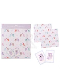 Love Owls Gift Wrap 2 Sheets and Tags @ rosefields.co.uk
