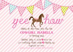 Horse Birthday Invitation : Cowgirl Birthday by pisforpartypapers