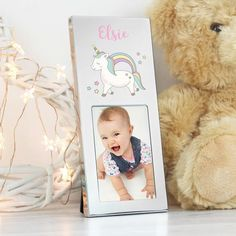 This adorable Baby Unicorn Photo Frame is a cute way to cherish special memories.The frame can be personalised with any name up to 12 characters.Please note all text will appear as entered, please avoid using black capitals as this will make t. Personalized Photo Frames, Personalized Baby Gifts, Baby Unicorn, Unicorn Gifts, Baby Girl Gifts, New Baby Gifts, Unicorn Photos, Christening Gifts, New Baby Products