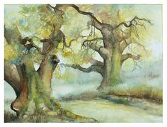 two oak trees by modiszqa (deviantart) traditional art/watercolor