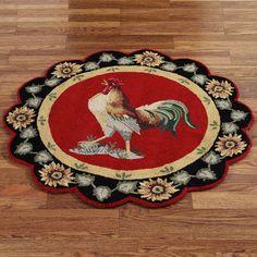 Barnyard Rooster Round Rug  3 Round