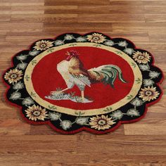 Barnyard Rooster Round Rug  3 Round