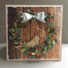 Handmade card by DT member Neline with Craftables Wreath (CR1387) and Creatables Mix & Match Bows (LR0448) from Marianne Design
