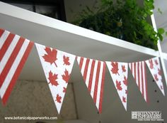 A fun project to help you with decorating for Canada Day. This free printables flag bunting is easy and fun to do. It's even better when printed on seed paper, that way you can send your guests home with a eco-friendly favor that will grow wildflowers. Canada Day Party, Canada Day Fireworks, Canada Day Crafts, Canada Holiday, Canada 150, Seed Paper, Pennant Banners, Party Banners, Thinking Day