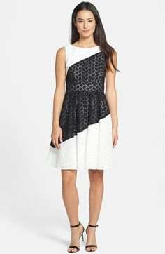 Ivy & Blu Colorblock Cotton Eyelet Fit & Flare Dress $138   this dress is gorgeous!