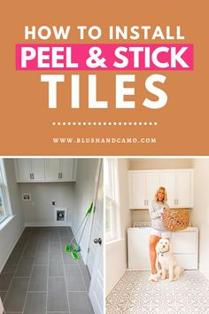 If you're looking for a fresh new look for your laundry room, look no further than peel and stick tiles! They are an easy and affordable way to give update your floors! #peelandstick #laundryroom #easydiy #newfloor #affordablediy
