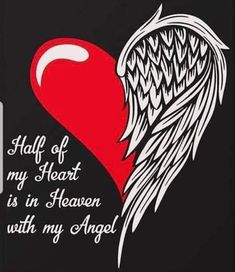 Discover Half Of My Heart Is In Heaven T-Shirt from The Guardian Angel, a custom product made just for you by Teespring. Feather Tattoo Design, Feather Tattoos, Body Art Tattoos, Small Tattoos, Tatoos, Wing Tattoos, Purple Heart Tattoos, Winged Heart Tattoos, Memorial Tattoo Quotes