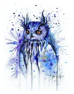 The dignity of an owl in blue watercolor...