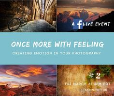 "Join me TODAY for Episode #2 of ""Once More With Feeling: Creating Emotion In Your Photography"".   When: 4pm PT today! Where: Right here in my profile. Calendar reminder: http://evt.mx/cTlRcq3u  This is a 3-part series of FB LIVE events chatting about how to consistently have feeling emotion and connection singing through your photographic art.   Today we talk PREPARATION. How do you get into the ""zone""?  We need to be focused and grounded to produce The Extraordinary. Having a process that…"