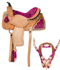 Pink Zebra Western Barrel Racing Horse Saddle 14 16