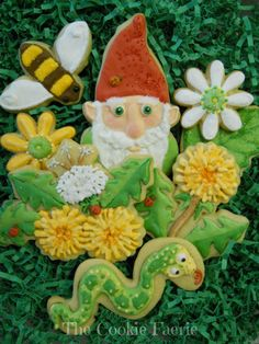 Knome sweet gnome in the garden! Vanilla Butter Cookies with Royal Icing by Robin Traversy {The Cookie Faerie}.