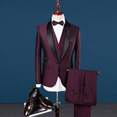 Men Suit Wedding Suits For Men Shawl Collar 3 Pieces Slim Fit Burgundy Suit Men Royal Blue Tuxedo Jacket