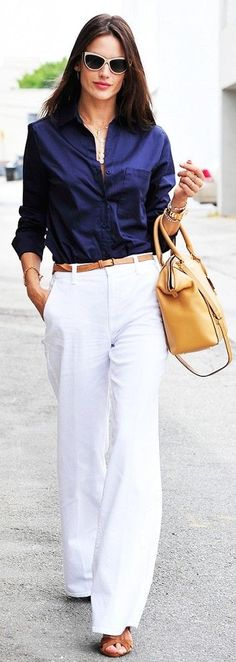 Casual Chic work outfit. Navy buttoned up shirt, wide leg white pants.