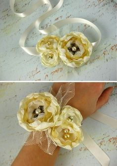 fabric corsage- but really you can use this to make flower belts, hair clips, broaches, etc.