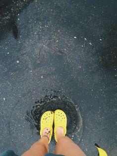 bright yellow crocs + bright yellow rain jacket