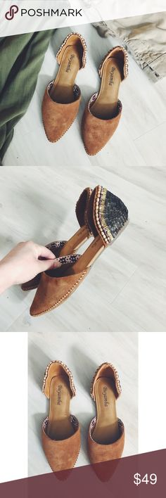 Buyamba Kabale Beaded Suede Pointed Toe Flats Boho chic and perfect for the milder months ahead! Gorgeous beaded detailing on the heels and Suede with stitching around the toes. Brand new, never worn. No box, but never used. Buyamba Shoes Flats & Loafers