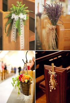 Aisle markers for a church wedding