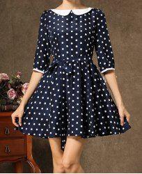 Sweet Peter Pan Collar Polka Dot Print 3/4 Sleeve Dress For Women