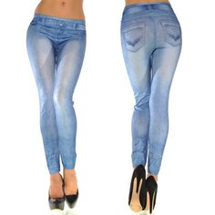 2d2a78dfe1d Hot Fashion New Stylish Faux Jean Denim Jeggings Women Leggings Pants for  Girls Lady