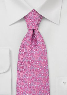 Wedding floral tie to coordinate with Petunia Pink from Alfred Angelo.