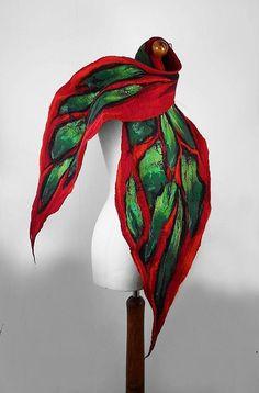 Felted Scarf Snake Wrap Felt Scarves Art to wear  Felt Nunofelt Nuno felt Silk Eco fairy multicolor shawl Fiber Art