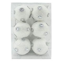 Picture of Glitter BallOrnaments with Gem Silver, White- Set of 6