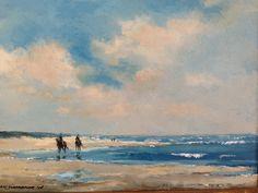 Ruiters op het strand. Oil on canvas 30x40cm. Door Herman Dasselaar.