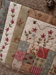 ~ Embroidery & Patchwork ~ my next quilting project - using the stitches on my machine to decorate a patchwork piece.I love the look of this patchwork quilt with amazing embroidery.Embroidery and patchwork combined make for a uniquely charming quilt Vintage Embroidery, Embroidery Stitches, Embroidery Patterns, Hand Embroidery, Embroidery Sampler, Embroidery Scissors, Christmas Embroidery, Floral Embroidery, Small Quilts
