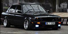 BMW E30 3 series black deep dish stance
