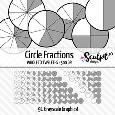 Fractions CLIP ART. Perfect for creating worksheets, games or task cards! Grayscale for printing.