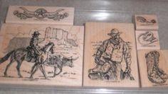Stampin Up Wild West Cowboy Rubber Stamp Set W/ Extra Bonus Items