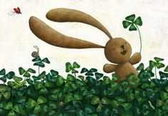 NURSERY decor CLOVER. Four leaf BUNNY. Baby shower gift by Ciacio