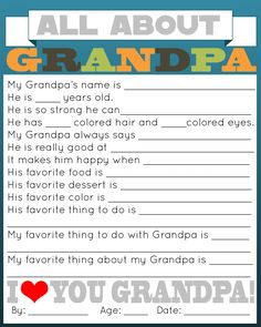 grandpa gifts A great and personal gift for Daddy is this All About Daddy printable questionnaire for your kids to fill out. Grandpa Birthday Gifts, Daddy Gifts, Grandpa Gifts, Gifts For Dad, Family Gifts, Happy Birthday Papa, Grandfather Gifts, Nana Gifts, Fathers Day Presents