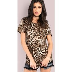 Short Sleeve Cheetah Print Tee LEOPARD ($28) ❤ liked on Polyvore featuring tops, t-shirts, color, brown t shirt, leopard t shirt, short sleeve t shirts, ripped t shirt and cheetah print t shirt