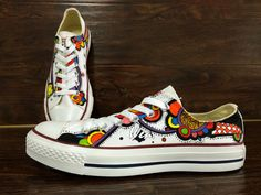 WEN Original Design Floral Converse Custom Floral Shoes Hand Painted Shoes Custom Low Top Converse Canvas Shoes Unique Birthday Gifts