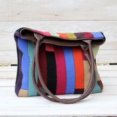 Recycled Sweater Bag - Colorful Patchwork Tote with Recycled Brown Leather Handles on Etsy, $107.33