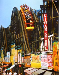 Thunderbolt Rollercoaster, Coney Island, NY, c.1950s by Jerry Dantzic #NYC