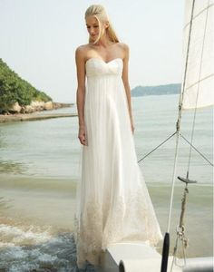 beach strapless sweetheart empire waist tulle wedding dress corset back popular style. $185.00, via Etsy.