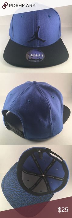 e943eeed7842 Jordan Jumpman Snapback Men s snapback in blue with black Jordan logo.  Elephant print underneath the bill. In great condition with original  sticker Jordan ...
